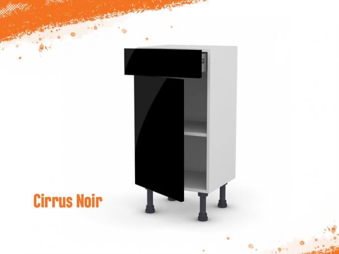 Meuble bas cirrus noir mat 40 cm (Faible profondeur) + façade 1 PORTE / 1 TIROIR