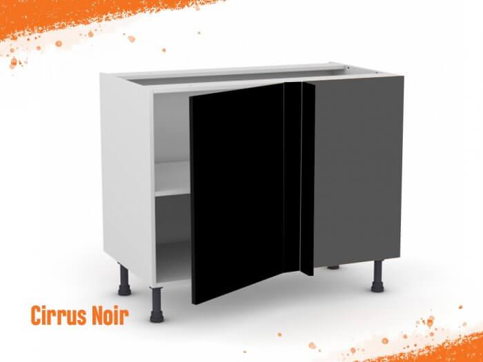Meuble angle bas cirrus noir mat 90 cm + façade 1 PORTE 45 cm (à gauche)
