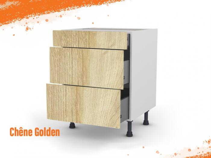 Meuble bas chêne golden 90 cm (Caisson + Façade 3 tiroirs)