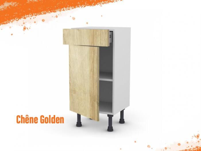 Meuble bas chêne golden 40 cm (Faible profondeur) + façade 1 PORTE / 1 TIROIR