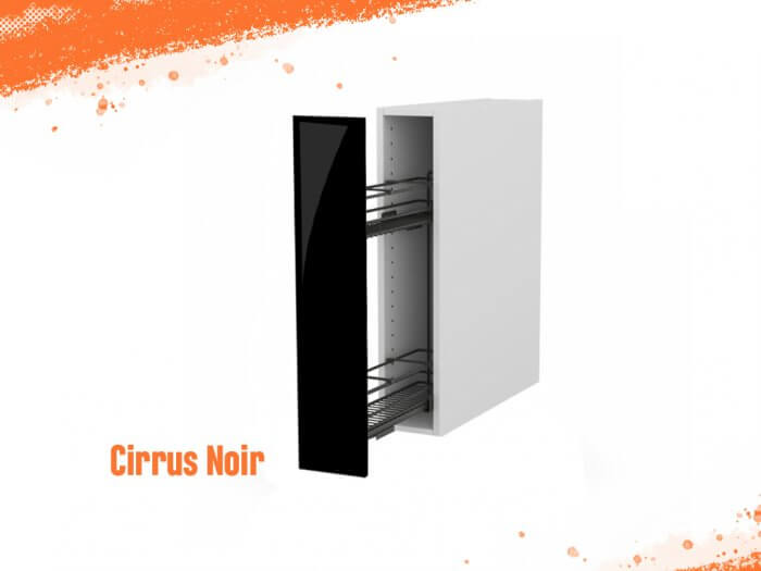 Meuble bas cirrus noir mat 15 cm + façade 1 PANIER ÉPICES