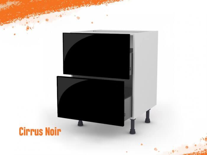 Meuble bas cirrus noir mat 60 cm (Caisson + Façade 2 tiroirs)
