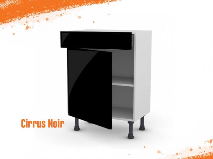 Meuble bas cirrus noir mat 60 cm (Faible profondeur) + façade 1 PORTE / 1 TIROIR