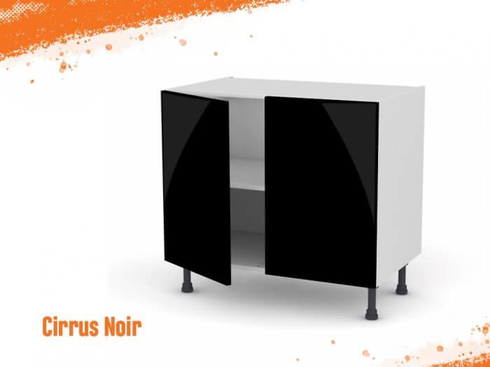 Meuble bas cirrus noir mat 90 cm Deux Portes