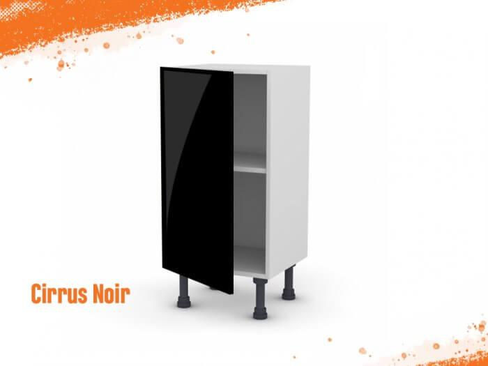 Meuble bas Cirrus noir mat 40 cm (Faible profondeur) + façade 1 PORTE