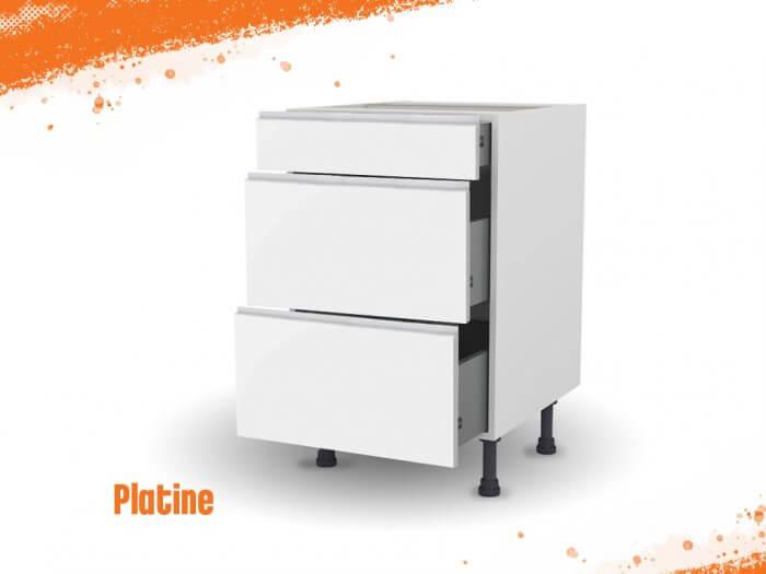 Meuble bas platine 60 cm (Caisson + Façade 3 tiroirs)