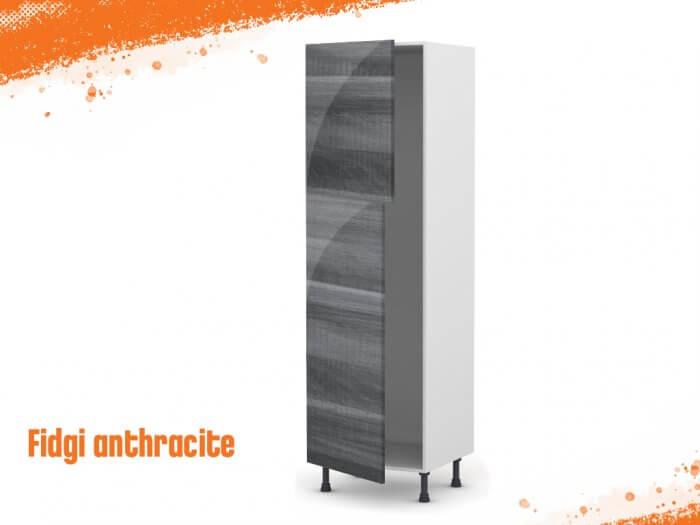 Meuble Armoire fidgi anthracite 60 cm (grande porte + petite porte)